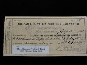 1931 San Luis Valley Southern Railway Co. Check To The Denver & Rio Grande RR