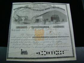 1867 Boston & Wocester Railroad Corporation Stock Certificate