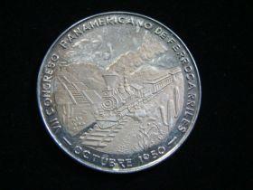 1950 Mexico 7th Pan-American Railway Congress Silver Medal