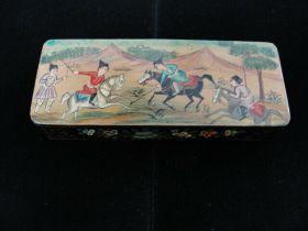 Antique Persian Lacquerware Ware Hand Painted Box Horsemen and Flowers Motif