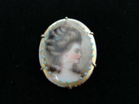 Antique Hand Painted Miniature Portrait Brooch