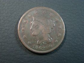 1842 Braided Hair Large Cent Large Date Fine 20728