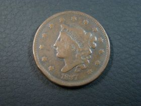 1837 Coronet Head Large Cent Large Date VG 30728