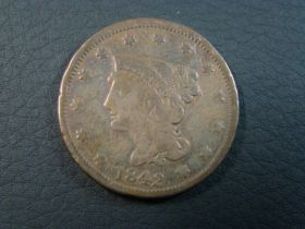 1842 Braided Hair Large Cent Small Date Good 60728