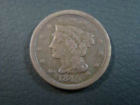 1845 Braided Hair Large Cent VG+ 80728 Nice old original coin.