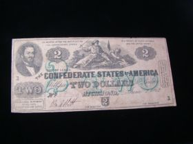 1862 Confederate States Of America $2.00 Banknote Signed Fine T43
