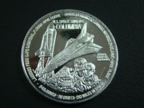 1981 Space Shuttle Columbia Crippen & Young Flight One Ounce .999 Silver Round