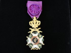 Belgian Knight Order of Leopold Officer Grade Medal With Crossed Swords