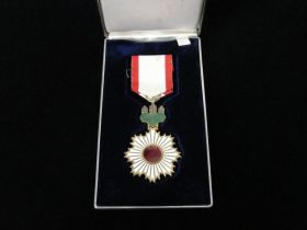 Japanese Order of the Rising Sun Medal with Gold Rays and Case