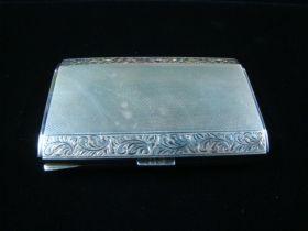 Vintage Art Deco Solid Sterling Silver Cigarette Case Signed Hallmark