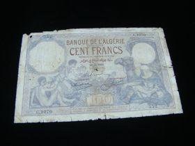 Algeria 1932 100 Francs Banknote G-VG Pick#81b