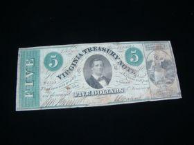 1862 Virginia Treasury Note $5.00 Banknote F-VF Pick#S3682