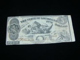 1862 The State Of Louisiana $5.00 Banknote VF Pick#S894
