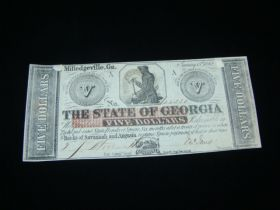 1862 The State Of Georgia $5.00 Banknote Banks Of Savannah & Augusta XF P#S852