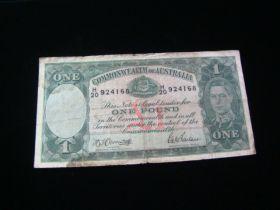 Australia 1938-52 One Pound Banknote VG Pick#26b 924168