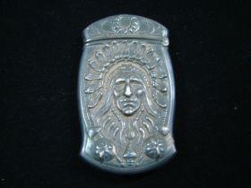 c.1900 Rare Gorham Sterling Silver Native American Case Match Safe Providence RI