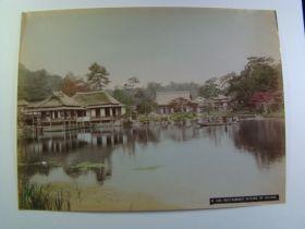japan 1880-90 Kusakabe Kimbei Original Albumen Print Restaurant In Park Of Hikone
