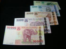 Tanzania 2003 500-10000 Shillingi Banknotes Gem Unc. Pick #35-39