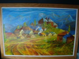 "Michael Kinsley Colorado Artist ""Leadville"" Original Oil On Board 29.5""x19.5"""