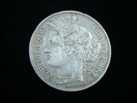 France 1870-A Silver 5 Francs VF KM#819 30125