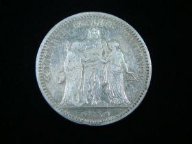 France 1873-A Silver 5 Francs VF KM#820.1 40125