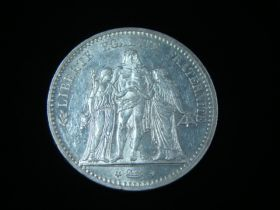 France 1873-A Silver 5 Francs Uncirculated KM#820.1 50125