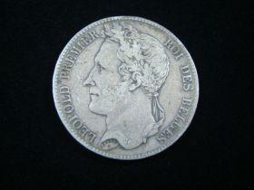Belgium 1847 Silver 5 Francs VF KM#3.2 70125