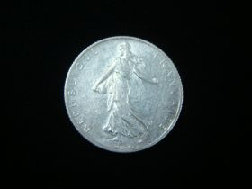 France 1917 Silver 2 Francs About Uncirculated KM#845.1 60125