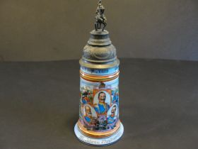 1913-1916 Imperial German 2nd Bavarian Cavalry Lidded Beer Stein Named