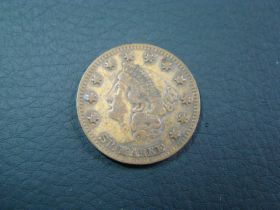1850s Game Token - Compositions Spiel Marke - Liberty Head - Eagle With Shield