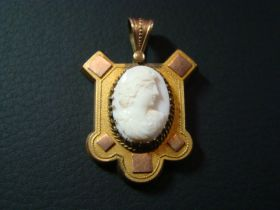Antique Victorian Gold Filled Carved Shell Cameo Brooch c.1890-1900