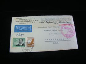 1936 Germany #C50/C55 Hindenburg Flight Cover To U.S. Dated 8-15-36