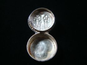 19th Century Antique Hand Engraved Sterling Silver Pill Box