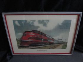 1937 Rock Island Rocket Streamlined Train Original Lithograph Print Framed
