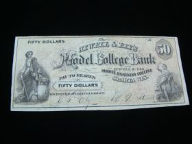 1850's Atwell & Ely's Model College Bank $50.00 Banknote VF Small Tear
