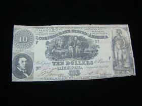 1861 Confederate States Of America $10.00 Banknote VF T-30