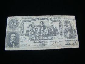 1861 Confederate States Of America $20.00 Banknote VF T-20