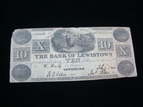 1844 The Bank Of Lewistown Pennsylvania $10.00 Banknote Fine+