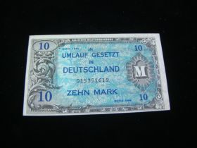 Germany 1944 Allied Military Currency 10 Mark VF+ Pick#194b Wo/F 015351619