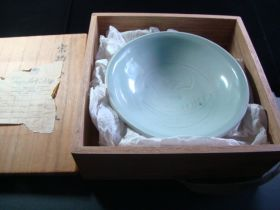 Southern Song Dynasty 1127-1279 Celadon Bowl Bought In Tokyo 1948 W/Box & Label