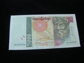 Portugal 1998 5000 Escudos Banknote XF Pick#190e 02
