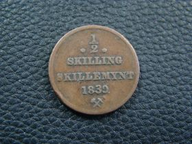 Norway 1839 1/2 Skilling Fine KM#305.1 10916