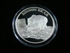 "North American Wildlife Series ""Brown Bear"" 2 Ounces .999 Fine Silver Medal"
