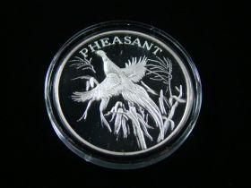 """North American Wildlife Series """"Pheasant"""" 2 Ounces .999 Fine Silver Medal"""