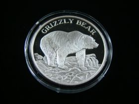 """North American Wildlife Series """"Grizzly Bear"""" 2 Ounces .999 Fine Silver Medal"""