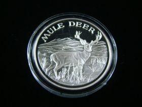 """North American Wildlife Series """"Mule Deer"""" 2 Ounces .999 Fine Silver Medal"""
