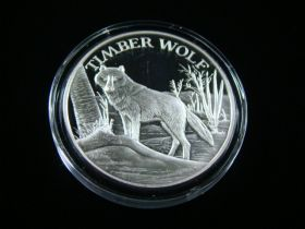 """North American Wildlife Series """"Timber Wolf"""" 2 Ounces .999 Fine Silver Medal"""
