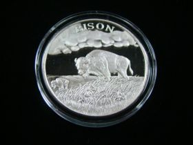 """North American Wildlife Series """"Bison"""" 2 Ounces .999 Fine Silver Medal"""