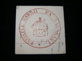 1880's Hawaii Royal Consul Seal On Map Paper Used As Trade Currency In Nagasaki
