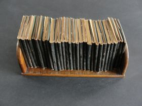 Antique Little Leather Library Collection of 30 Books with Wooden Book Holder